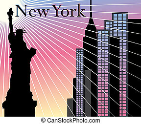 New York Skyscrapers vector background with Statue of...