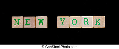 New York spelled out in old wooden blocks