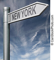 new york staat, oder, stadt- straße, zeichen, usa, staaten,...