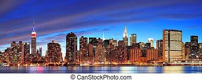 new york stad, manhattan, midtown, op, schemering