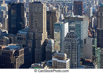 new york stad, manhattan skyline, luchtmening, met, wolkenkrabbers, in, de, morgen