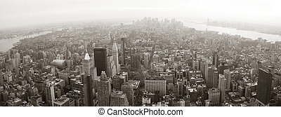 new york stad, manhattan skyline, luchtmening, panorama