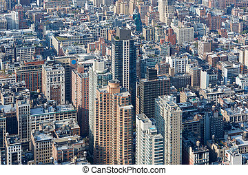new york stad, manhattan skyline, luchtmening