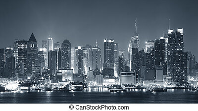 new york stad, nigth, zwart wit