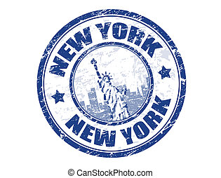 Grunge rubber stamp with Statue of Liberty and the word New York inside, vector illustration