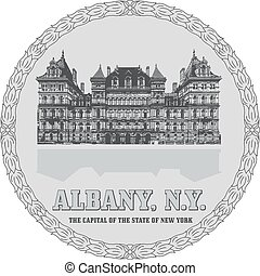 New York State Capitol in Albany - Generic sign of Albany,...