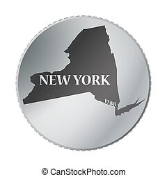 New York State Coin - A New York state coin isolated on a...