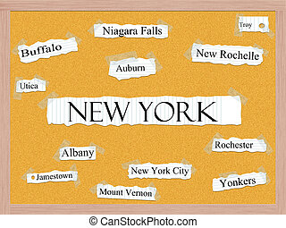 New York State Corkboard Word Concept with cities in the...