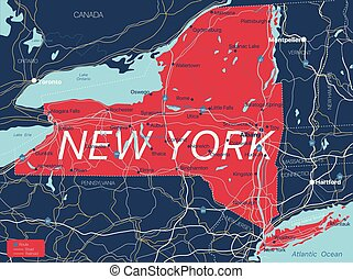 New York state detailed editable map