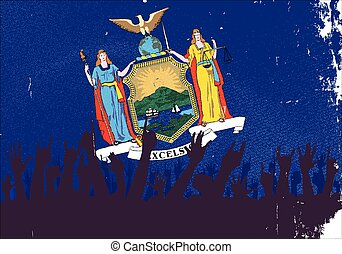 New York State Flag with Audience - Audience happy reaction...