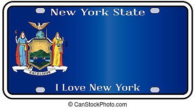 New York State License Plate With Flag