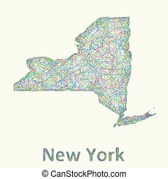 New York state line art map from colorful curved lines