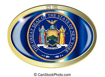 New York State Seal Oval Button - Oval metal button with the...