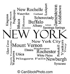 New York State Word Cloud Concept in black and white with...