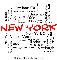 New York State Word Cloud Concept in red caps with about the 30 largest cities in the state such as New York City, Albany, Buffalo and more.