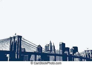 New York - An illustration of the Brooklyn Bridge and Lower...