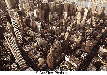 New York City Manhattan skyline aerial view with Empire...