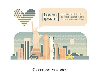 New York Street City Panorama Facade Skyline Cartoon