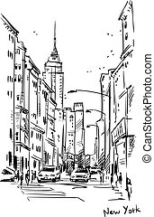 New York street, vector sketch