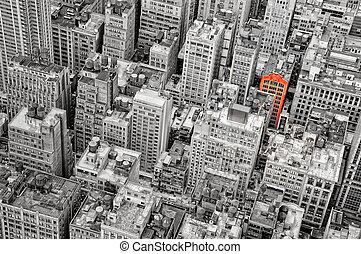 New York streets bird's view monochrome selective colorization vintage