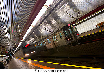 New York subway - Train arriving to station, New York City...