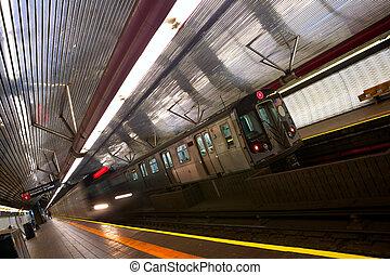 New York subway - Train arriving to station, New York City...