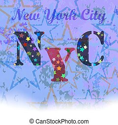 New York T-shirt Emblem. Starry Basketball Logo