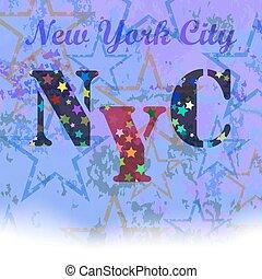 New York T-shirt Emblem. Starry Basketball Logo