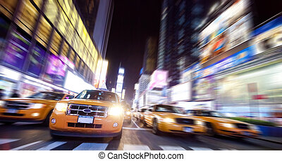new york taxi, op tijd, plein, in, de, nacht