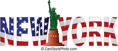 New York Text Outline US Flag in Color - New York Text...