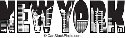 New York City Skyline Text Outline Silhouette Black and White Illustration