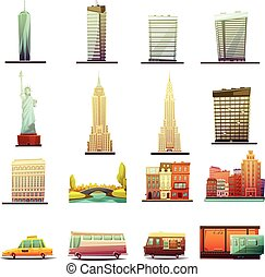 New York  Transportation Landscape Icons Set