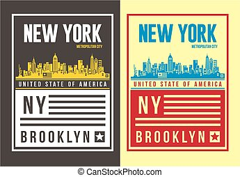 New york typography design for T shirt, Vector.