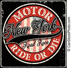 New York typography Motor Club