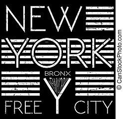 New york typography T shirt graphic . Vectors