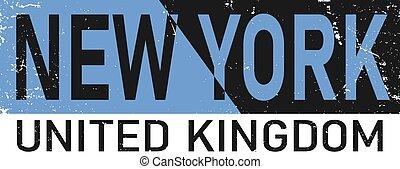 New York typography, t-shirt graphics, vectors split text word