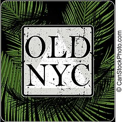 New york typography with floral illustration. T shirt graphic . Vectors