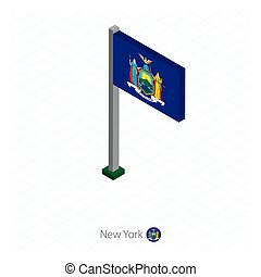 New York US state flag on flagpole in isometric dimension.