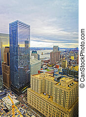Aerial view on Skyscrapers in Financial District