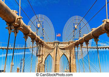 new york, usa, brooklyn bridzs, keresztül, a, kelet folyó,...