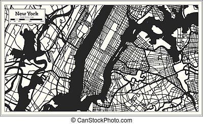 New York USA City Map in Black and White Color.