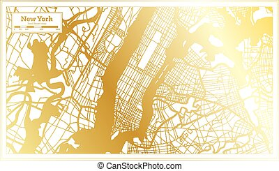 New York USA City Map in Retro Style in Golden Color. Outline Map.