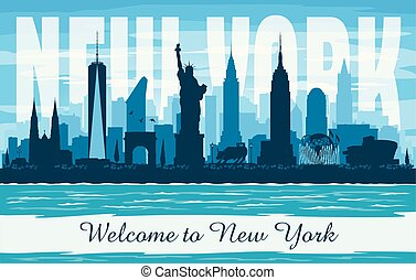 New York USA city skyline vector silhouette