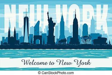 New York USA city skyline vector silhouette