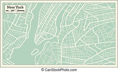 New York USA Map in Retro Style.