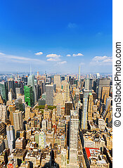 View of Manhattan from the skyscraper's observation deck. ...