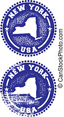New York USA Stamps - A couple of distressed stamps...