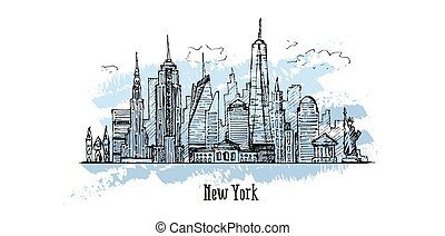 New York vector drawing, hand drawn illustration, sketch style