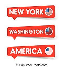 new york, vettore, washington, etichetta