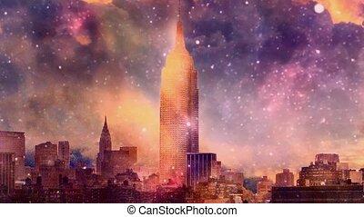 New York view. Sunset or sunrise